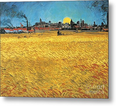 Summer Evening Wheat Field At Sunset Metal Print by Vincent van Gogh