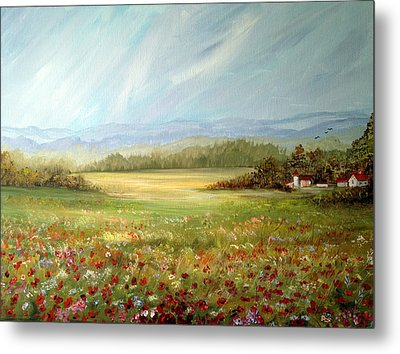 Summer Field At The Farm Metal Print by Dorothy Maier