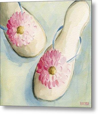 Summer Flip Flops Shoe Paintings Metal Print by Beverly Brown
