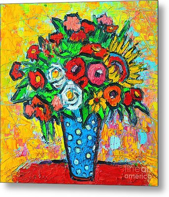 Summer Floral Bouquet - Sunflowers Poppies And Roses Metal Print by Ana Maria Edulescu