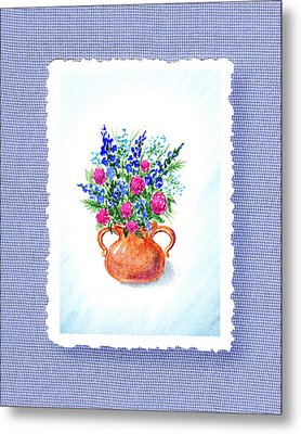 Summer Flowers Bouquet Botanical Impressionism Metal Print by Irina Sztukowski