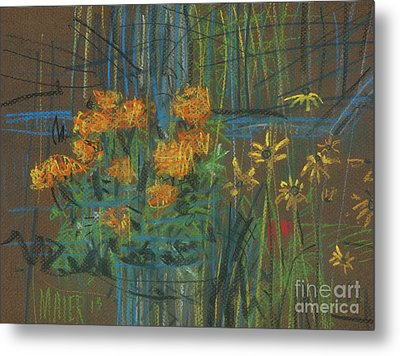 Metal Print featuring the painting Summer Flowers by Donald Maier