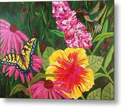 Metal Print featuring the painting Summer Garden by Ellen Levinson