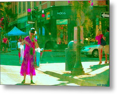 Summer Heatwave Too Hot To Walk Lady Hailing Taxi Cab At Hogg Hardware Rue Sherbrooke Carole Spandau Metal Print by Carole Spandau