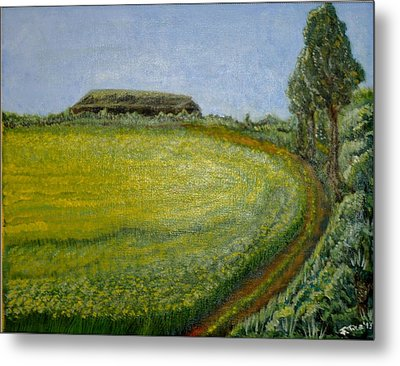 Summer In Canola Field Metal Print by Felicia Tica