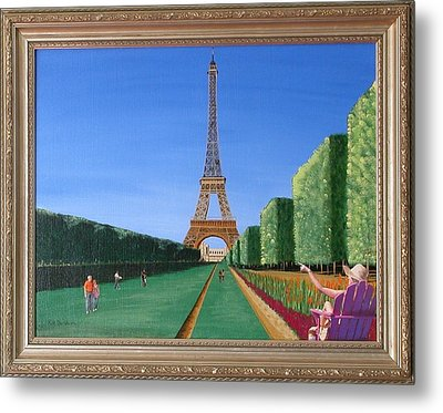 Metal Print featuring the painting Summer In Paris by Ron Davidson