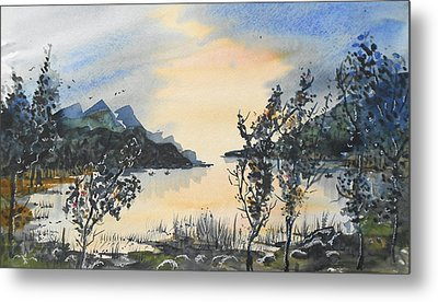Metal Print featuring the painting Summer Lake by Terry Banderas