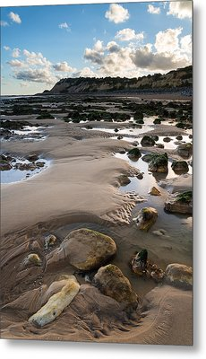 Summer Landscape With Rocks On Beach During Late Evening And Low Metal Print by Matthew Gibson