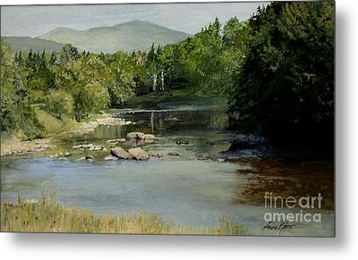Metal Print featuring the painting Summer On The River In Vermont by Laurie Rohner