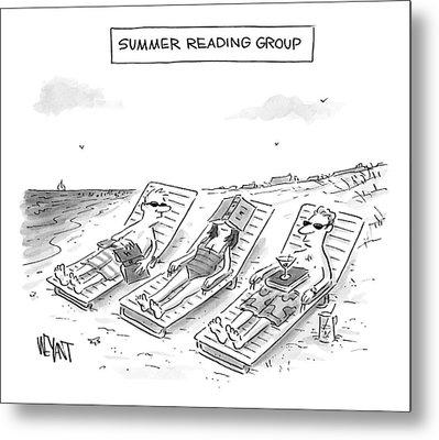 Summer Reading Group -- Three Beach Goers Lounge Metal Print