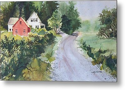 Metal Print featuring the painting Summer Road by Joy Nichols