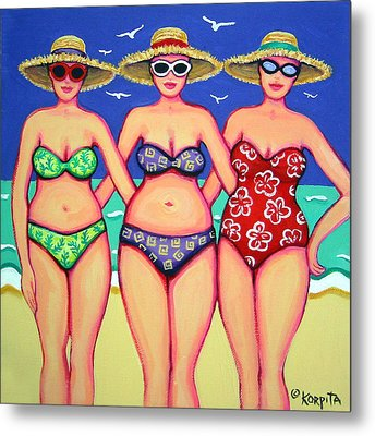 Summer Sisters - Beach Metal Print by Rebecca Korpita