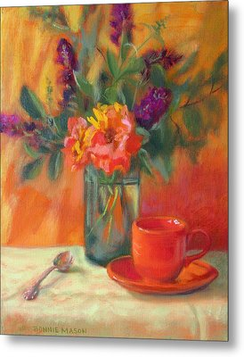 Summer Song- Orange Roses And Butterfly Bush Blooms Metal Print