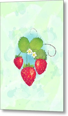 Summer Strawberries Metal Print by Jane Rix