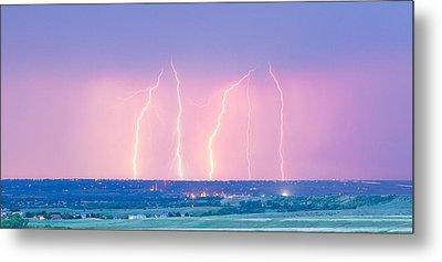 Summer Thunderstorm Lightning Strikes Panorama Metal Print