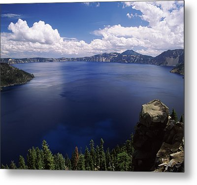 Summer Thunderstorms Over Crater Lake Metal Print