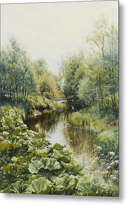 Summerday At The Stream Metal Print by Peder Monsted