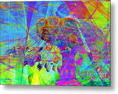 Summertime At Santa Cruz Beach Boardwalk 5d23905 Metal Print by Wingsdomain Art and Photography