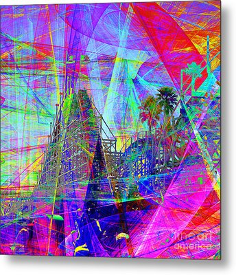 Summertime At Santa Cruz Beach Boardwalk 5d23930 Square Metal Print by Wingsdomain Art and Photography