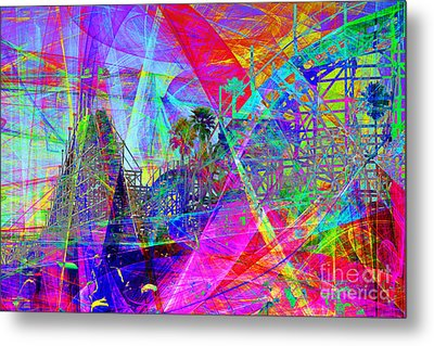 Summertime At Santa Cruz Beach Boardwalk 5d23930 Metal Print by Wingsdomain Art and Photography