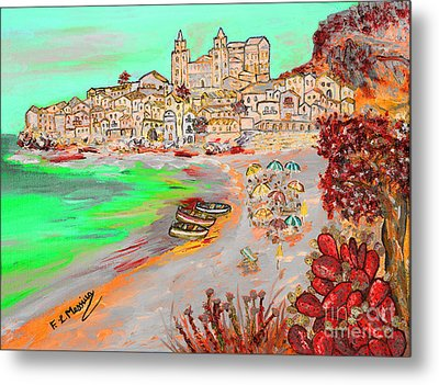 Metal Print featuring the painting Summertime In Cefalu' by Loredana Messina