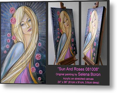 Metal Print featuring the painting Sun And Roses 081008 Comp by Selena Boron