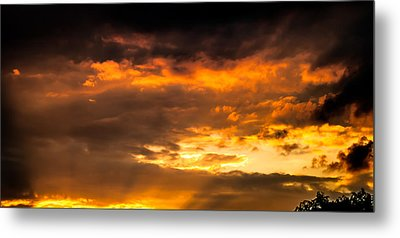 Sun Beams And Clouds Metal Print by Optical Playground By MP Ray