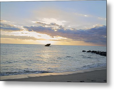 Sun Behind The Clouds - Sunset Beach - Cape May Metal Print