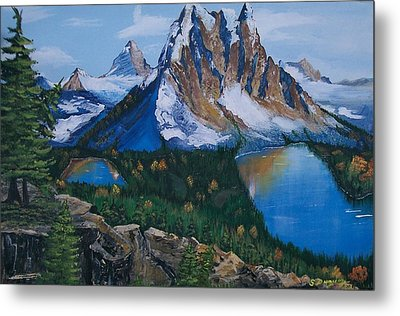 Metal Print featuring the painting Sun Burst Peak by Sharon Duguay