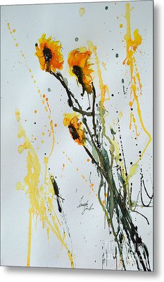 Sun-childs- Flower Painting Metal Print by Ismeta Gruenwald