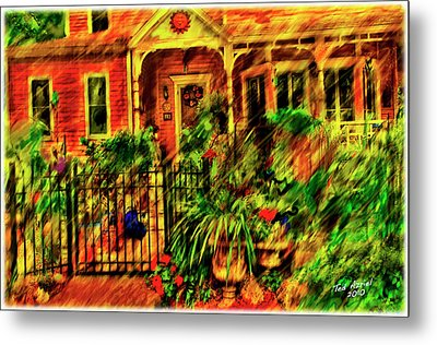 Metal Print featuring the painting Sun Dial House by Ted Azriel