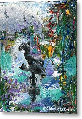 Sun Glitter Mermaid Rides A Dolphin Metal Print