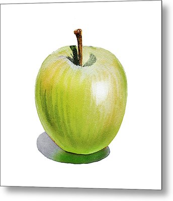 Metal Print featuring the painting Sun Kissed Green Apple by Irina Sztukowski