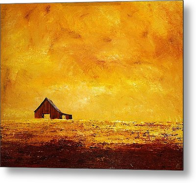 Metal Print featuring the painting Sun Lit Barn by William Renzulli