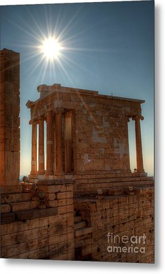 Sun Over Athena Nike Temple Metal Print by Deborah Smolinske
