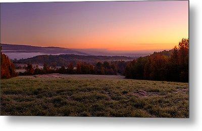Sun Over Fog On An Autumn Morning Metal Print by Chris Bordeleau