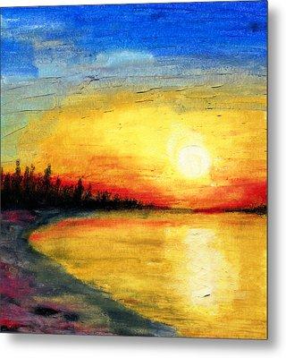 Sun Over The Lake Metal Print by R Kyllo