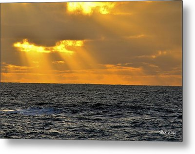 Sun Rays Through The Clouds Metal Print by Alex King