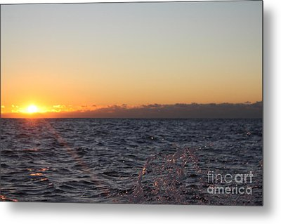 Sun Rising Through Clouds In Rough Waters Metal Print