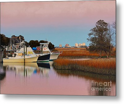 Sun Setting At Murrells Inlet Metal Print