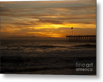Sun Setting Behind Santa Cruz With Ventura Pier 01-10-2010 Metal Print