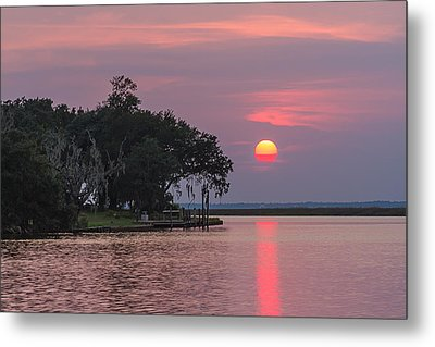 Sun Setting In The Bayou Metal Print by Brian Wright
