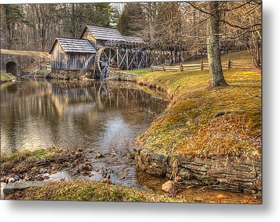 Sun Setting On Mabry Mill Metal Print by Gregory Ballos