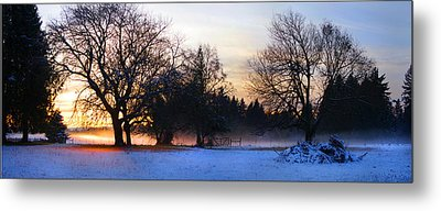 Sun Setting On Snow With Fog On The Ground Behind Metal Print by Harold Greer