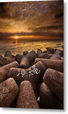Sunabe Seawall At Sunset Metal Print by Chris Rose