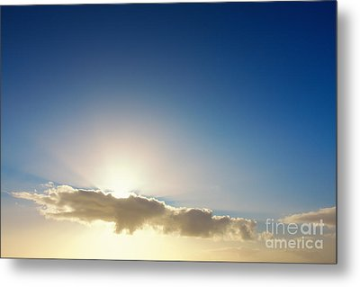 Sunbeams Behind Clouds Metal Print