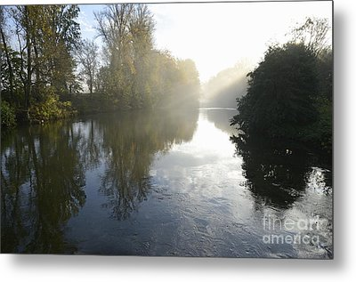 Sunbeams On Orb River By Morning Mist Metal Print