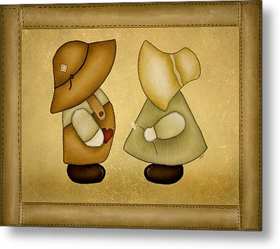 Sunbonnet Sue And Overall Sam Metal Print by Brenda Bryant
