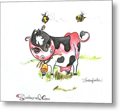 Sunburned Cow Metal Print by Shelley Overton