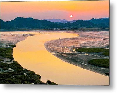 Suncheon Bay Sunset Metal Print